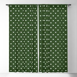 Small White Polka Dot Hearts on Dark Forest Green Blackout Curtain