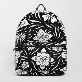 Summer Flowers Black and White Backpack
