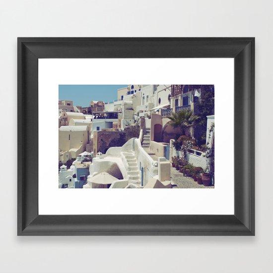 Streets of Santorini III Framed Art Print