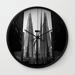 Shards - Black And White London Architecture Print Wall Clock