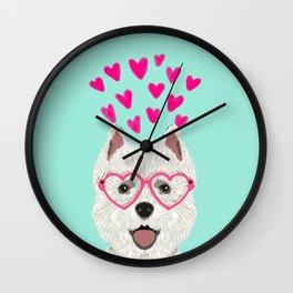 Westie west highland terrier white valentines day dog lover pet valentine Wall Clock