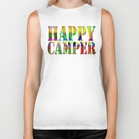 camp Biker Tanks featuring Camp Fire by Gréta Thórsdóttir