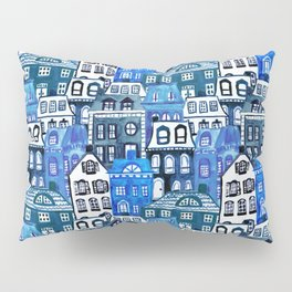 Mansard Village in Blue Watercolor Pillow Sham