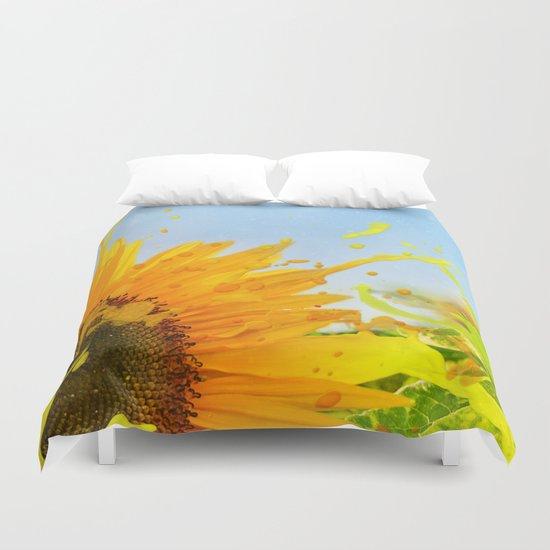 Splashing Sunflower Duvet Cover