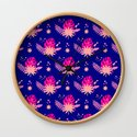 Modern navy blue pink abstract monster leaves illustration by eclectic_art
