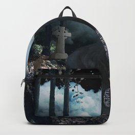 The lonely wolf in the dark night Backpack