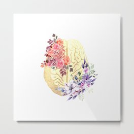 Floral Brain Anatomy  Metal Print