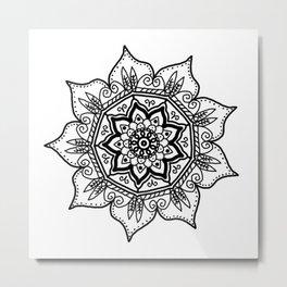BW Floral Mandala Metal Print