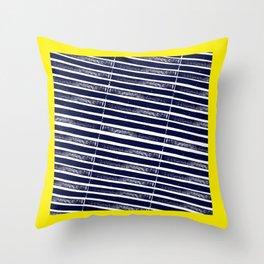 Textured Blue Diagonal Lines Throw Pillow