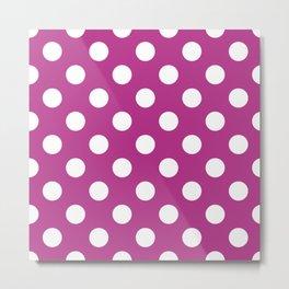 Fandango - violet - White Polka Dots - Pois Pattern Metal Print
