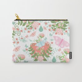 Abstract coral pink green butterfly floral illustration Carry-All Pouch