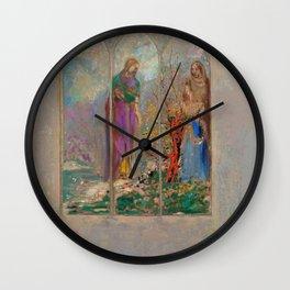 "Odilon Redon ""Devotion near a red bush"" Wall Clock"