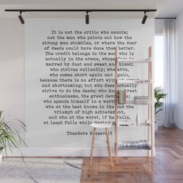 Man In The Arena Theodore Roosevelt Quote Wall Mural