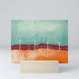 Palm Springs Windmills in Teal and Orange Mini Art Print