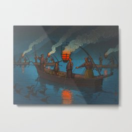 Beautiful Vintage Japanese Woodblock Print Japanese Fisherman Flame Torch Metal Print