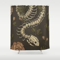 snake Shower Curtains featuring Snake Skeleton by Jessica Roux