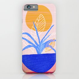 Summer Patio Flora in Pink and Blue iPhone Case