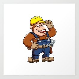 Cartoon of a Gorilla Handyman Art Print