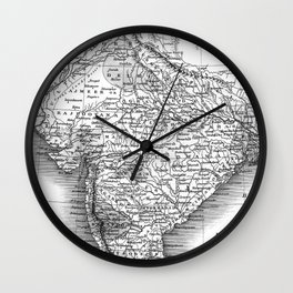 Vintage Map of India (1831) BW Wall Clock