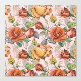 Blush pink orange brown watercolor roses floral Canvas Print