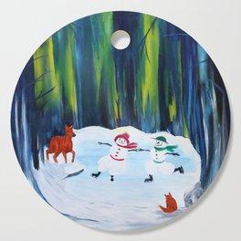 Christmas Night with dancing snowmen Cutting Board