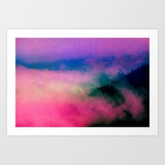 Fog Forest Mountain - Pink Rainbow Northern Lights Art Print