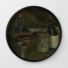 Still Life with Bottles and Earthenware Wall Clock