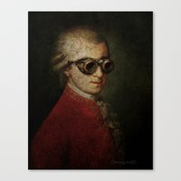 mozart Canvas Prints featuring Funny Steampunk Mozart by Paul Stickland for StrangeStore