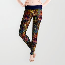 Rainbow Dotted Floral Batik Pattern Leggings
