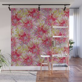 Pink dahlias on yellow Wall Mural
