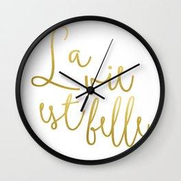 La vie est belle #society6 #typography #buyart Wall Clock