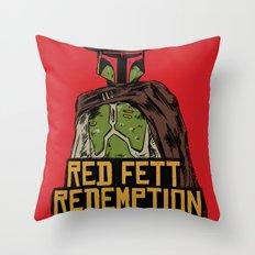 Red Fett Redemption Throw Pillow