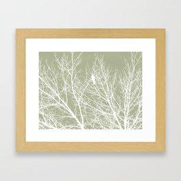 White Bird in White Tree - Moss A593 Framed Art Print