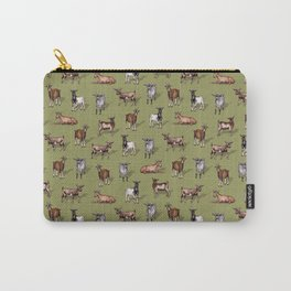 Tiny Goats on Green - Goat Herd Pattern Carry-All Pouch