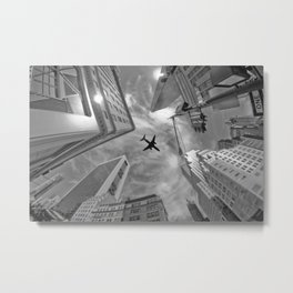 Plane over skyscrapers, New York City Metal Print