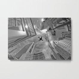 Plane over skyscrapers, New York City Metal Print