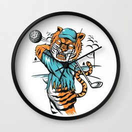 Tiger golfer WITH cap Wall Clock