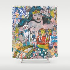 Vintage Comic WonderWoman Shower Curtain