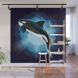 Illustration of a graceful killer whale in the depths of the sea. Wall Mural