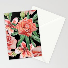 Roses on Black. Watercolor illustration. Hand drawn. Stationery Cards