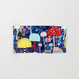 Blue Mushrooms - Zu hause Marine blue Abstract Art Hand & Bath Towel