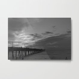 Fishing at the pier Metal Print