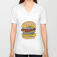 burger V-neck T-shirts featuring Burger by Amber Lily Fryer
