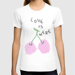 Love Is Here - Cherry Painting Fruit Illustration Food Kitchen Love Wedding Couple Marriage Gift T-shirt