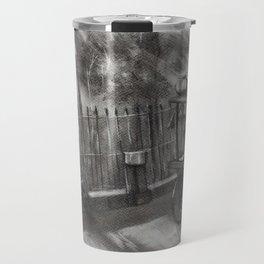 Sunrays, Morning Tea -  Charcoal Painting,Charcoal Sketch,Charcoal landscape Travel Mug