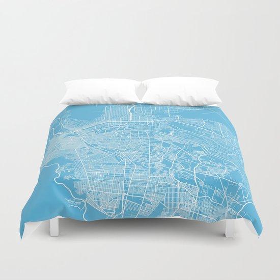 El Paso map blue Duvet Cover