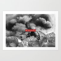 gta v Art Prints featuring Wasted GTA by JOlorful