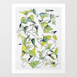 Blue and Green Vines, Pattern Art Print