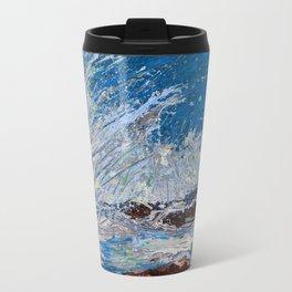 Ocean Waves - palette knife abstract painting of sea landscape Metal Travel Mug