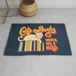 Cats and Books: That's All I Need Quote Art - Blue, Yellow, Orange and Beige Rug